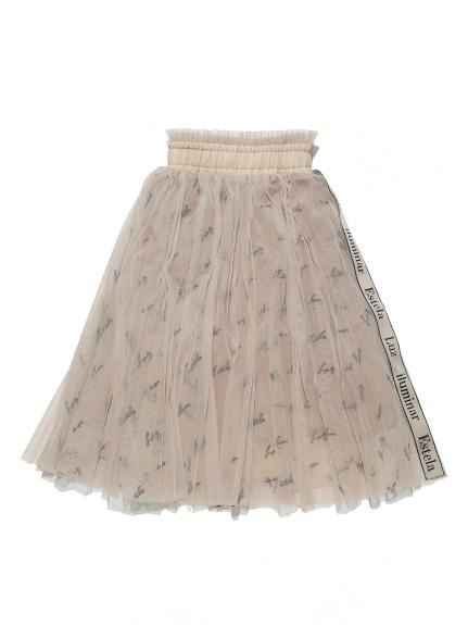 KIDSロゴ刺繍チュールスカート(BEG-100)