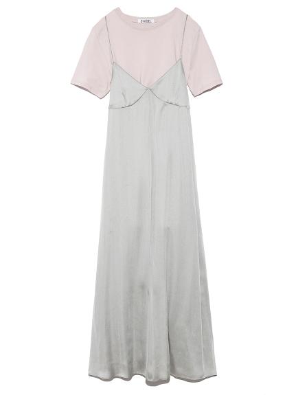 Tシャツレイヤードサテンキャミワンピース