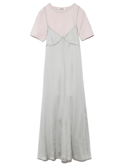 Tシャツレイヤードサテンキャミワンピース(IVRxMNT-F)