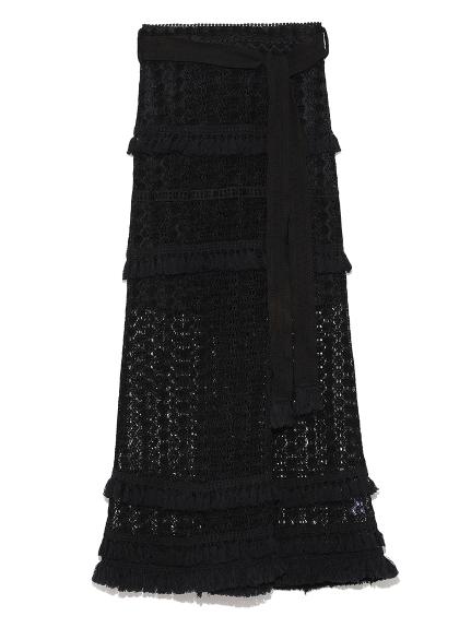 レースフリンジロングラップスカート(BLK-0)