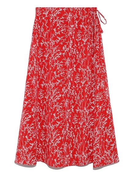 フラワーフレアーミドルスカート(RED-0)