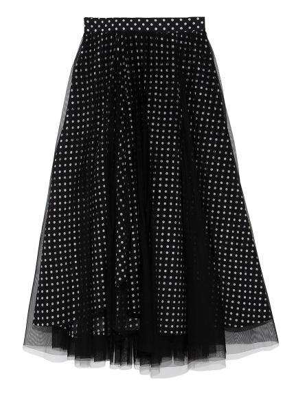 プリーツチュールプリントスカート(BLK-F)