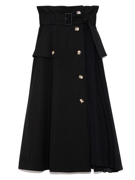 スイッチングトレンチプリーツスカート(BLK-0)