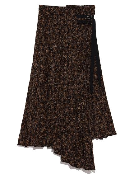 ランダムプリーツプリントスカート
