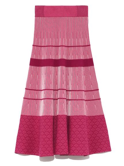 カラーブロッキングボーダーニットスカート(WINE-F)