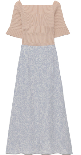 Rib Knit & Print Skirt Setup